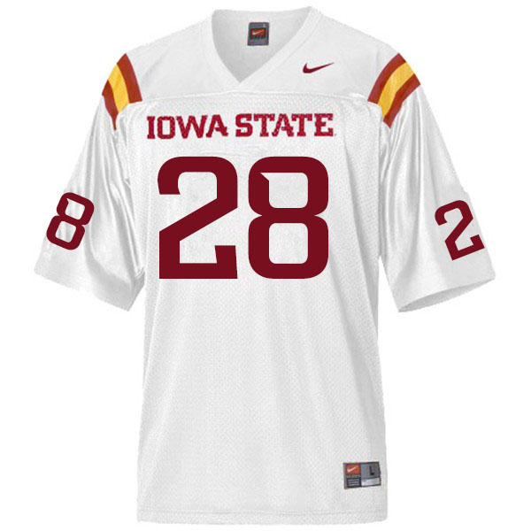 Men #28 Breece Hall Iowa State Cyclones College Football Jerseys Sale-White