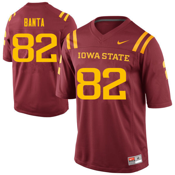 Men #82 John Banta Iowa State Cyclones College Football Jerseys Sale-Cardinal