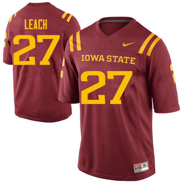 Men #27 Nick Leach Iowa State Cyclones College Football Jerseys Sale-Cardinal