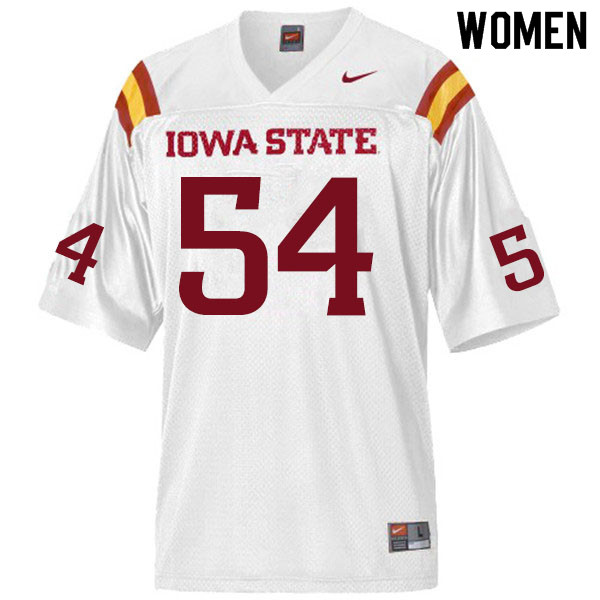 Women #54 Jarrod Hufford Iowa State Cyclones College Football Jerseys Sale-White