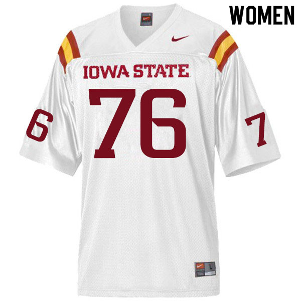 Women #76 Joey Ramos Iowa State Cyclones College Football Jerseys Sale-White