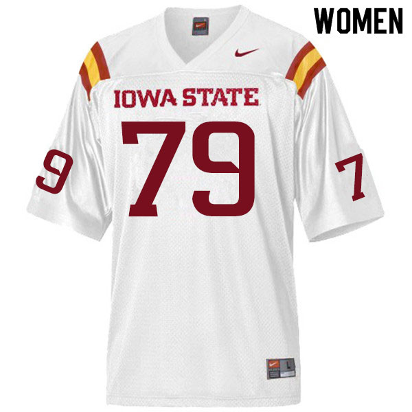 Women #79 Mason Skovgard Iowa State Cyclones College Football Jerseys Sale-White
