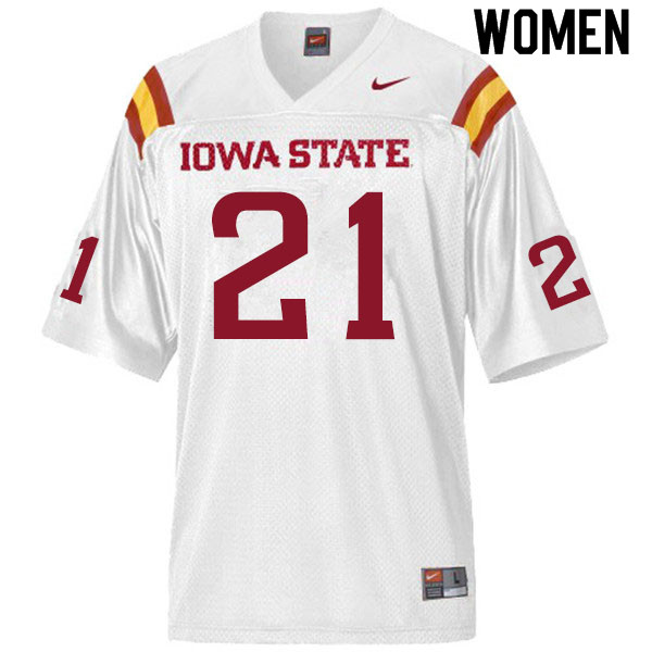 Women #21 Jirehl Brock Iowa State Cyclones College Football Jerseys Sale-White