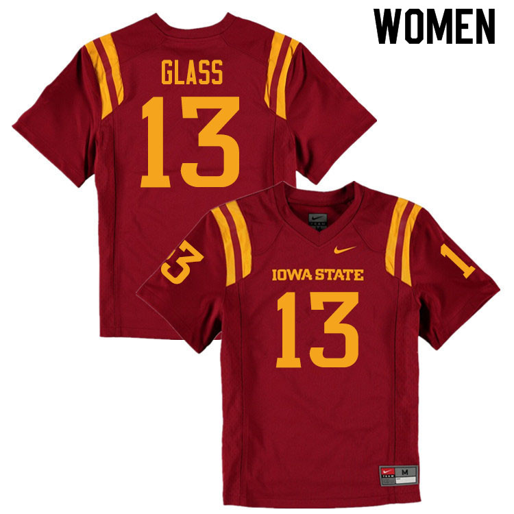 Women #13 Leonard Glass Iowa State Cyclones College Football Jerseys Sale-Cardinal
