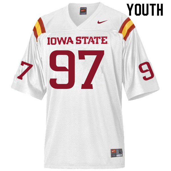 Youth #97 Drake Nettles Iowa State Cyclones College Football Jerseys Sale-White