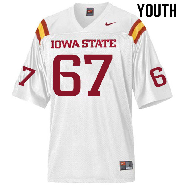 Youth #67 Grant Treiber Iowa State Cyclones College Football Jerseys Sale-White