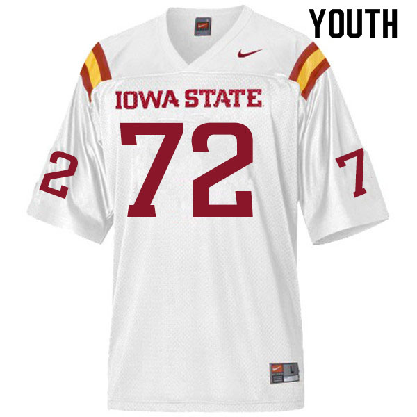 Youth #72 Jake Remsburg Iowa State Cyclones College Football Jerseys Sale-White