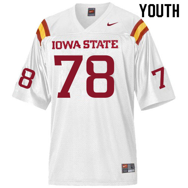 Youth #78 Jeremiah Marlin Iowa State Cyclones College Football Jerseys Sale-White