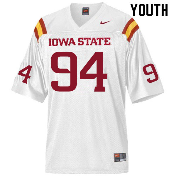 Youth #94 Kyle Krezek Iowa State Cyclones College Football Jerseys Sale-White